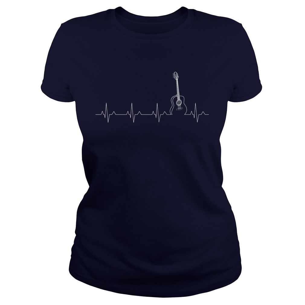 Guitar Heartbeat ladies tee Shirt