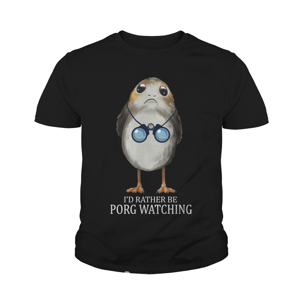 Bird watching- I'd rather be Porg watching youth tee shirt