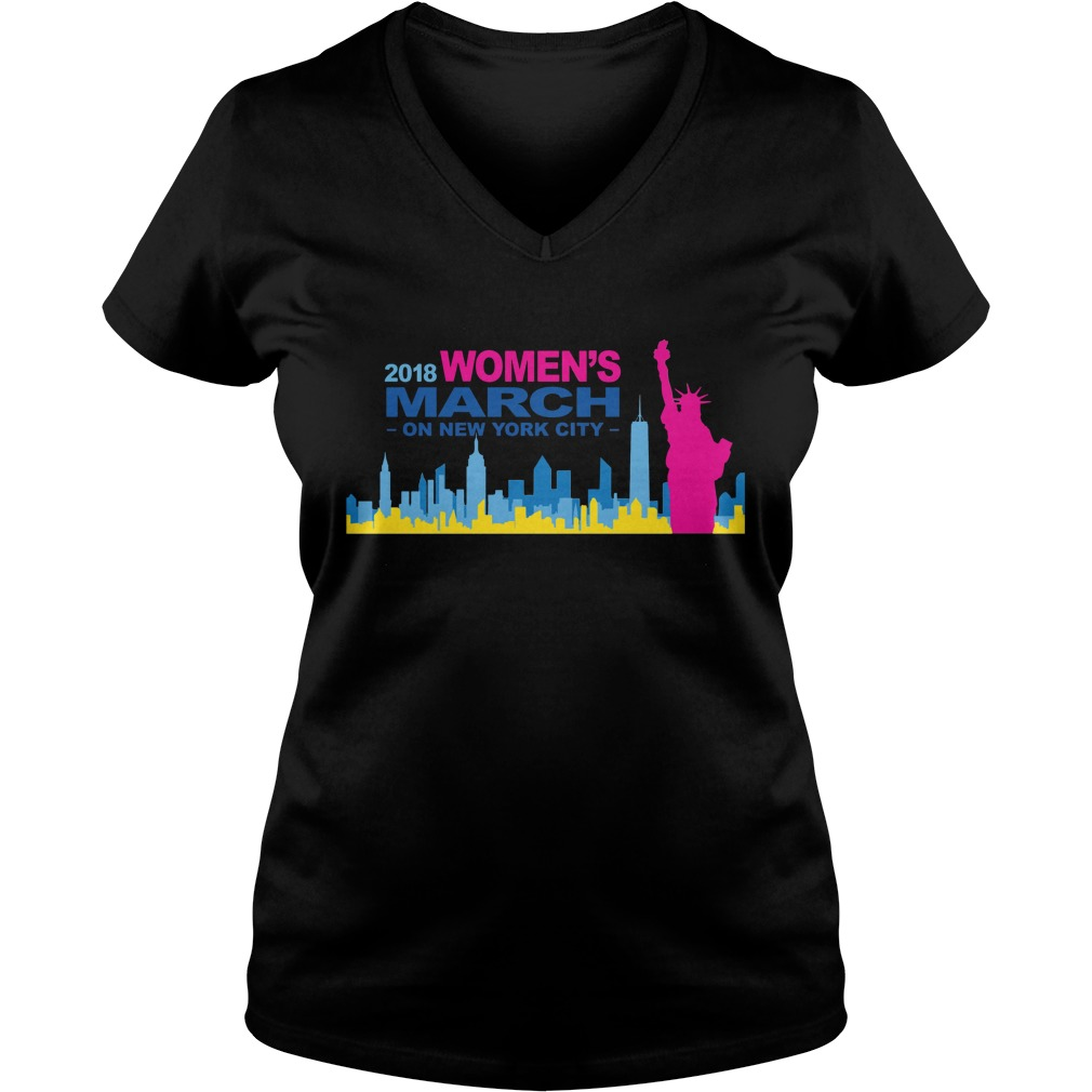 Official 2018 Womens March on New York city ladies v neck