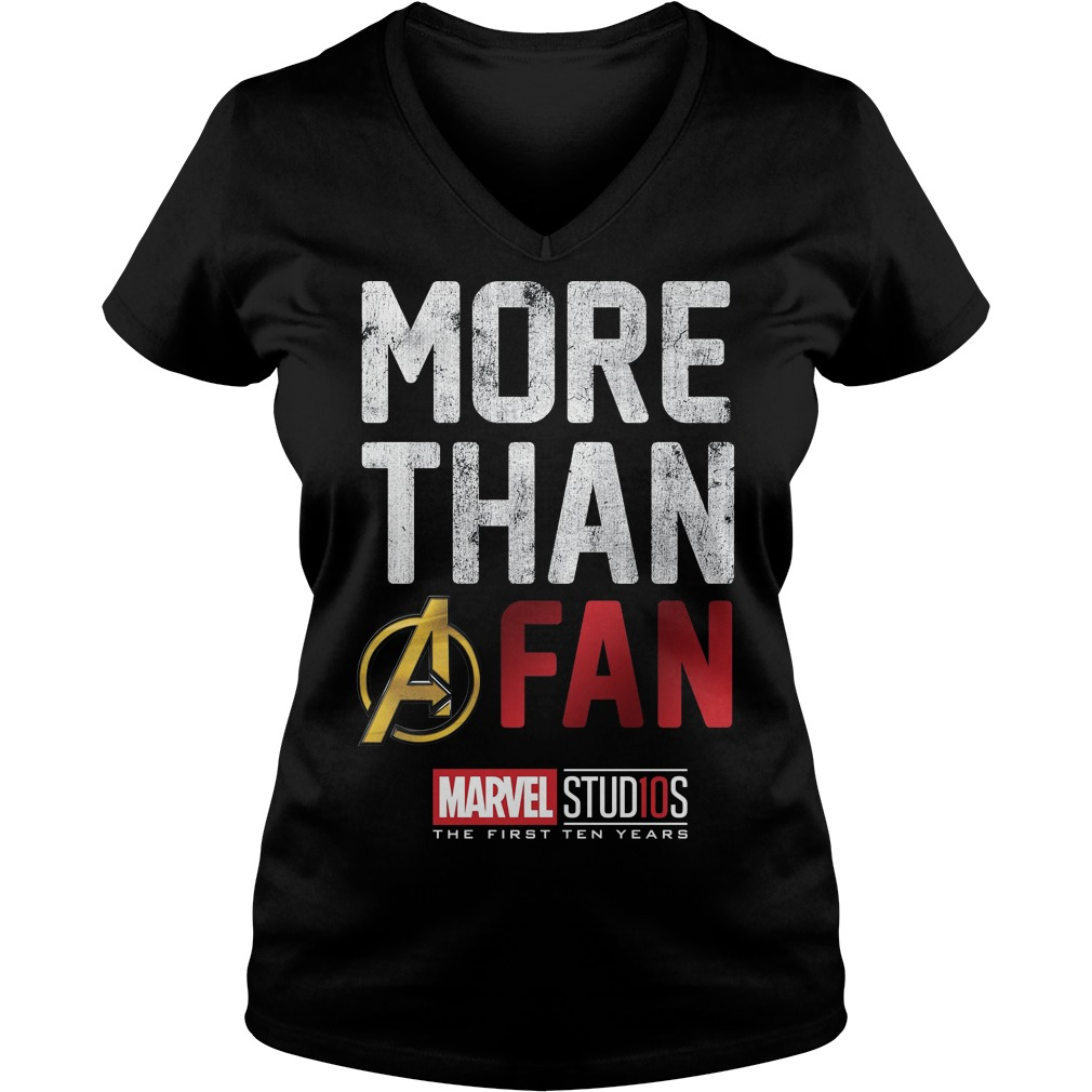Marvel Studios Ten Years More Than A Fan ladies v neck
