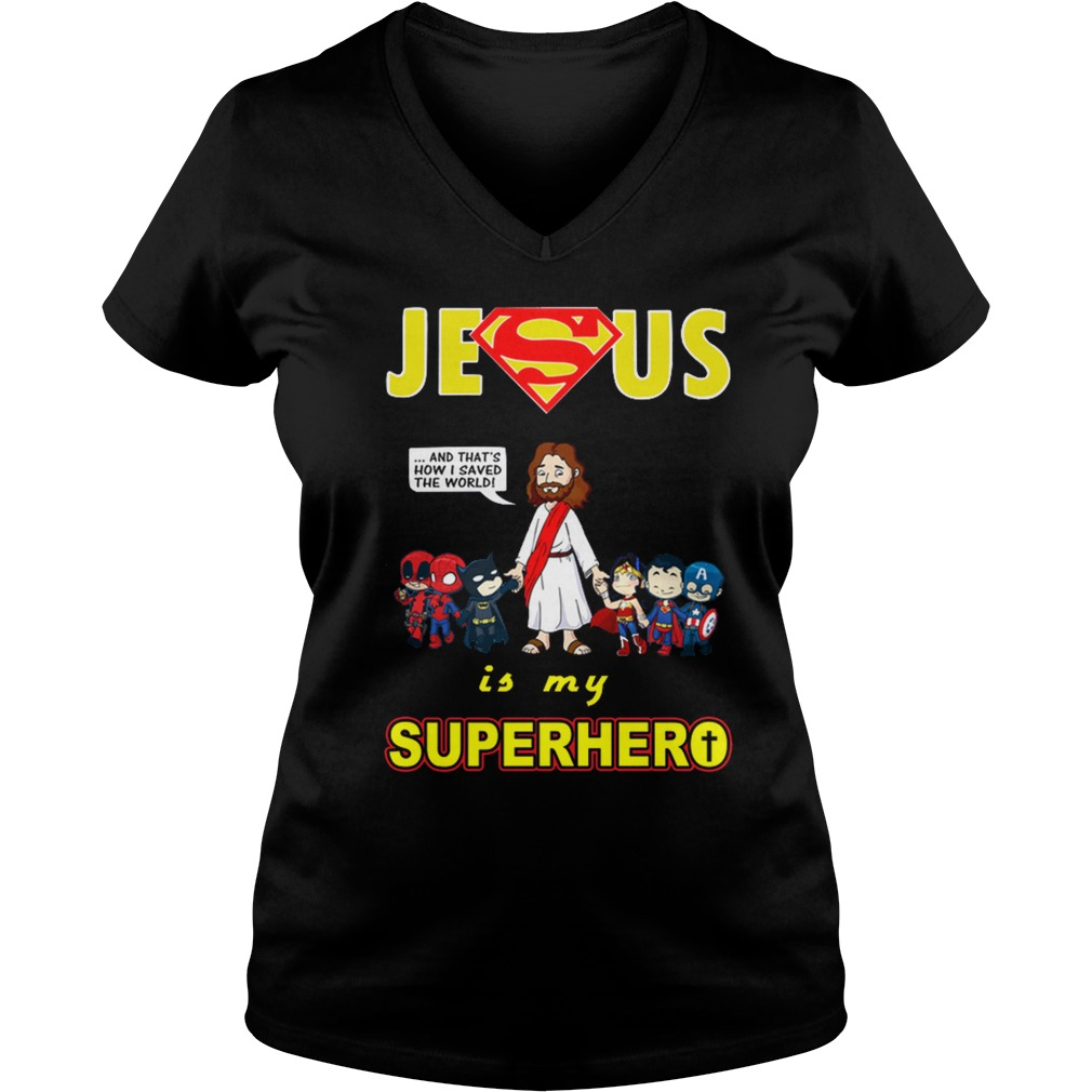 Jesus is my Superhero ladies v neck